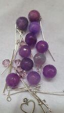 Diy Bracelet & Earring Jewelry Kit - Purple Jade gemstones Silvertone findings