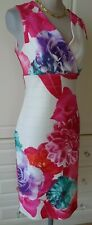 JOSEPH RIBKOFF OFF WHITE PINK FLORAL  BODYCON DRESS SIZE UK 14 FIT UK 12/14