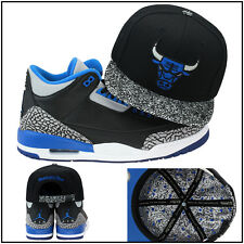Mitchell & Ness Chicago Bulls CUSTOM Snapback Hat For Jordan 3 Retro Sport Blue