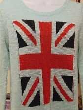 Fanny Collection Women's Union Jack Wool blend Top with sequins XL