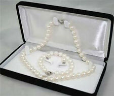 8-9mm Natural White Akoya Cultured Pearl Bracelet Necklace Earrings Jewelry Set