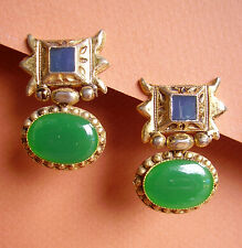 1871 / BOUCLES D'OREILLE CLIPS METAL DORE EMAILLE