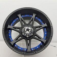 "20"" Matte Black Lonestar Warrior Wheels Ford F150 20x10 6x135 -25 Deep Dish BLUE"