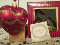 WATERFORD HH $35 Blown Glass Victorian Jeweled Red Heart Ornament NIB