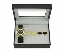 2x Time Design Men Gent Quartz Analoog Horloge Black Gold met manchetknopen