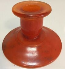 1920's Orange Glass Candleholder Vintage Halloween Party Ware