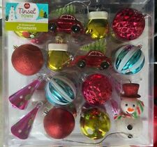 30 Shatterproof Christmas Ornaments Balls Snowman Mittens Red Car Tree Top Retro