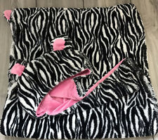 Rare HTF SL Home Fashions Pink Zebra Lovey Print Hooded Baby Blanket With Tail