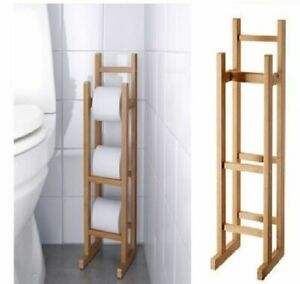BAMBOO WOODEN FREE STANDING TOILET ROLL STORAGE HOLDER STAND CLASSIC FINISH