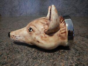 Staffordshire Ware Pottery  Fox Head Stirrup Cup