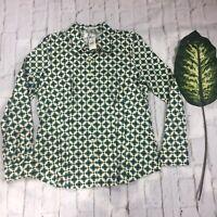 Van Heusen Studio Women's Size Large Green Fitted Button Up Shirt Long Sleeve