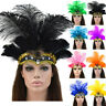 Indian Crystal Crown Feather Headband Headdress Carnival Headpiece Headgear UK
