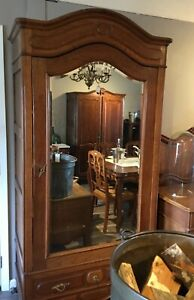Vintage Belgian Oak  Single Door Armorie with Mirror