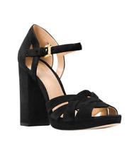 Michael Kors Annaliese Black Suede Ankle Strap Peep Toe Platform Sandals 8 M