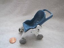 FISHER PRICE Loving Family Dollhouse STROLLER Folding Baby Pram Blue White RARE!