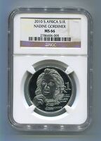 South Africa Protea Series 2010 Nadine Gordimer Silver NGC Graded R1 MS 66 Coin