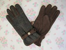 *New* Vintage Country Tweed Buckle Wool Suede Dark Green Brown Winter Gloves S/M