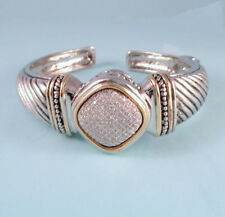 Pave Center Designer Inspired Silver Alloy Heavy Cable Cuff Bali Bracelet USA