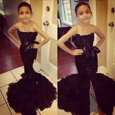 Black Mermaid Pageant Dance BallGown Princess Girl Prom Birthday Communion Dress