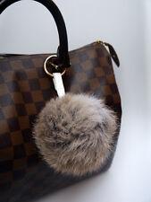 Grey Real Rabbit Fur Ball Pompom Keyring Bag Charm with Leather Strap UK seller
