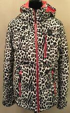 Obermeyer Resort Women's Insulated Ski Sknowboard Jacket Size 12 Ivory Leopard