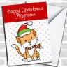 Spotty Ginger Cat Children's Christmas Customised Card