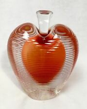 "Zellique Studio Art Glass Perfume Bottle Heart Shaped, Signed, 4"" Tall, 2004"