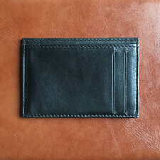 Card case / slim wallet / black genuine real leather / minimalist / oyster