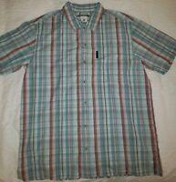 Columbia Men's Size Large LightBlue Plaid Short Sleeve Button Front Shirt