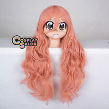 70CM Pink Long Curly Anime Basic Party Synthetic Hair Cosplay Bang+Cap Basic Wig