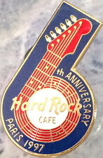 """Hard Rock Cafe PARIS 1997 6th Anniversary STAFF PIN Red """"6"""" Guitar LE 110 #7340"""