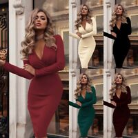 Bodycon Evening Dress Mini Casual Party Club V Neck Long Cocktail Womens Sleeve