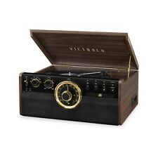 Victrola 6-in-1 Wood Bluetooth Mid Century Record Player with 3-Speed Turntab...