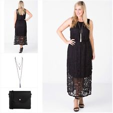 LOVE YOUR WARDROBE Black Lace Sleeveless Maxi Dress **NEW Plus Size16 RRP$139.95
