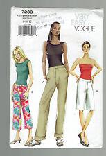 VOGUE pattern 7233 pants shorts capris Sz 8 10 12 uncut unused factory folded