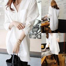 Korean Women BF Oversize Loose Casual V Neck Tunic Long Blouse Top Shirt White M
