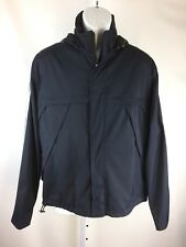 Zegna Sport Mens Jacket Vented Back Hooded Striped Sleeves Size Medium Black