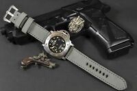MA WATCH STRAP 26 24 22 MM GENUINE NUBUCK LEATHER FITS PANERAI ETC VINTAGE GREY