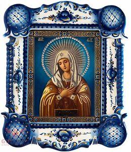 Russian Porcelain Gzhel Wooden Christian Icon Virgin of Tenderness Умиление