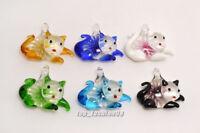 FREE Wholesale 12ps Snake Gold Sand Animal Lampwork Glass Pendants DIY Necklace
