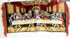 Vtg 70s P&C Last Supper Velvet Tapestry Wall Hanging 39x19 Red Fringe Religious