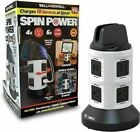 Bell and + Howell SPINPOWER Surge Protector Charging Station Tower 4 outlet 6USB