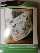 Bucilla BUTTERFLY COLLECTION LAP QUILT Stamped Cross Stitch Kit - NEW in Package