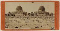 Moschea Omar Gerusalemme Foto Brogi Stereo PL53L3n59 Vintage Albumina c1870