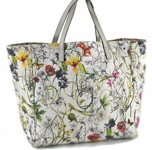 Authentic GUCCI Flora Tote Bag Canvas Leather 282439 White Multicolor C9690