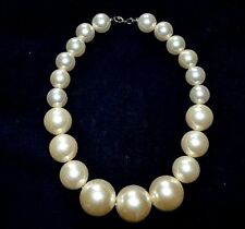 Large Faux Pearl Necklace White Round Beads Women Fashion Collar Charm Elegance