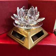 Gold Beautiful New Rotating Crystal Glass Lotus Flower Ornament Solar Powered