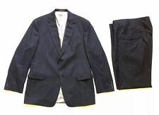 HSM Hart Schaffner Marx Monogram Mens Wool Dark Navy Pinstripe Blue Suit 46L