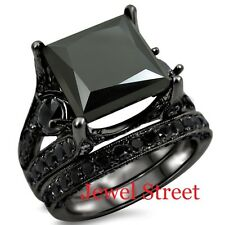 Opaque Black Diamond Bridal Set 925 Black Silver Engagement Ring New Online !!