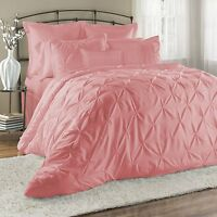 Luxurious 8-Piece Pinch Tuck Pleat Comforter Sets Bed in a Bag Bedding Pink New